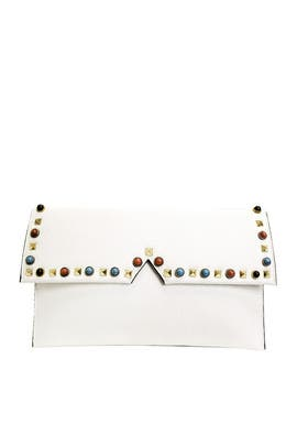 White Studded Clutch by Sondra Roberts