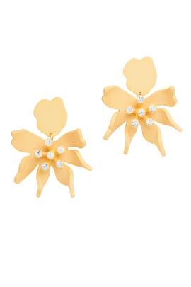 Tangerine Daffodil Earrings by Lele Sadoughi