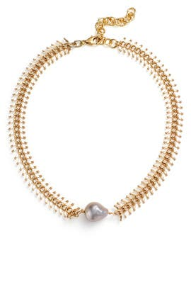 Pearl Fishbone Necklace by Daughter