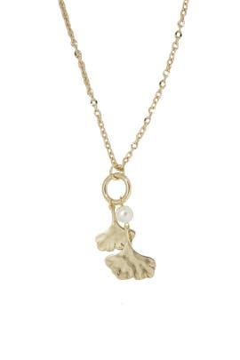 Gold Ginko Leaf Necklace by Ettika