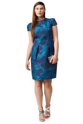 Carmen Marc Valvo - Teal Rosette Envelope Dress