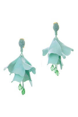 Celadon Impatiens Flower Drop Earrings by Oscar de la Renta