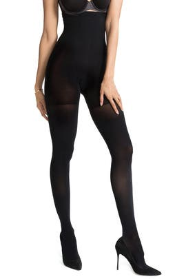 Very Black Luxe Leg High-Waist Tights by Spanx
