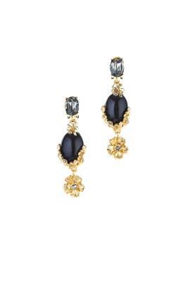 Jet Crystal Bouquet Earrings by Oscar de la Renta