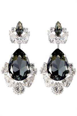 Janis Savitt - Smokey Crystal Crown Earrings