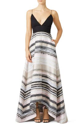 Neutral Stripe Gown by Badgley Mischka