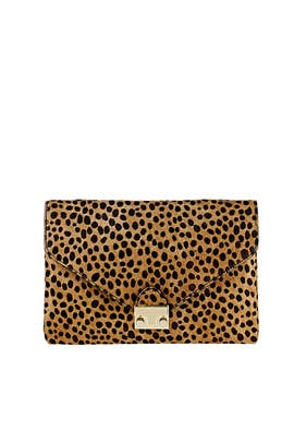 Cheetah Printed Lock Clutch by Loeffler Randall