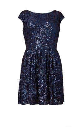 Botanical Blue Dress by Badgley Mischka