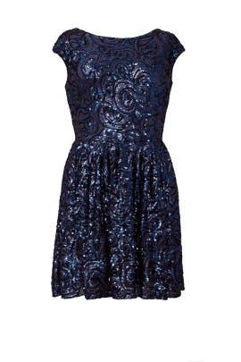 Botanical Blue Dress by Badgley Mischka