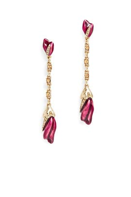 Purple Tulip Drop Earrings by Oscar de la Renta