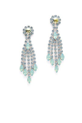 Sea Green Crystal Thread Earrings by Tova