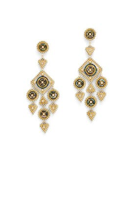 Gold Abalone Abyss Chandelier Earrings by Miguel Ases