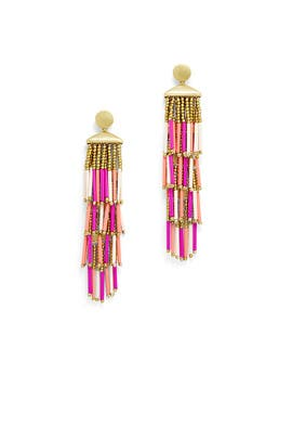 Beaded Fringe Drama Earrings by Rebecca Minkoff Accessories