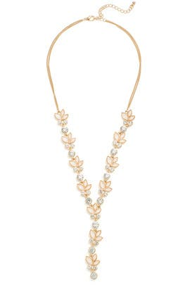 Crystal Lariat Necklace by Loren Olivia
