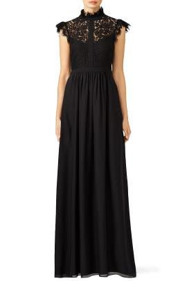 Rachel Zoe - Black Lace Paneled Gown