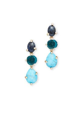 Blue Rose Earrings by Oscar de la Renta