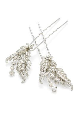 Crystal Peacock Feather Pins by RTR Bridal Accessories