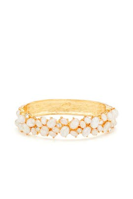 White Cabochon Cluster Bracelet by Kenneth Jay Lane