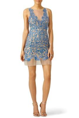 Royal Blue Floral Tulle Dress