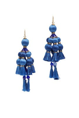 Blue Pretty Poms Tassel Earrings by kate spade new york accessories