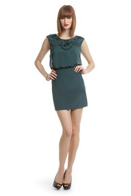 Tibi - Teal Applique Bloussant Dress