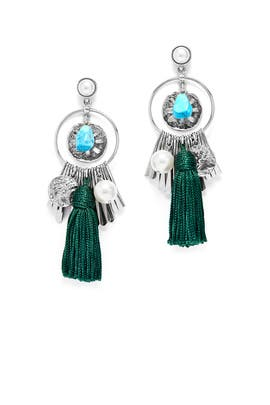 Silver and Green Charm Tassel Earrings by Oscar de la Renta