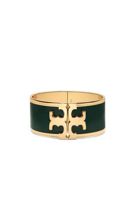 Green Raised Logo Cuff by Tory Burch Accessories
