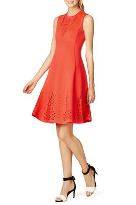 Red Lasercut Flared Dress by Clover Canyon
