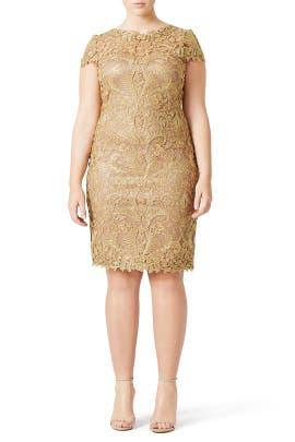 Gold Corded Embroidery Dress by Tadashi Shoji