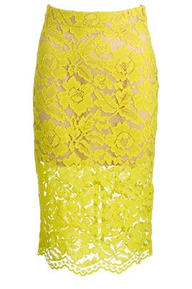 Bretta Citron Lace Skirt by Trina Turk