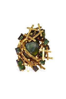 Gilded Emerald Collage Ring by Erickson Beamon