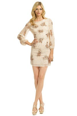 Badgley Mischka - Sequin Bell Sleeve Sheath