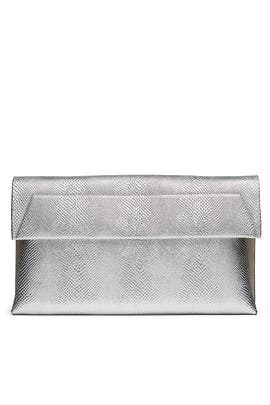Silver Karima Clutch by Christian Siriano Handbags
