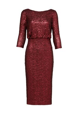 Merlot Sequin Sheath by Badgley Mischka