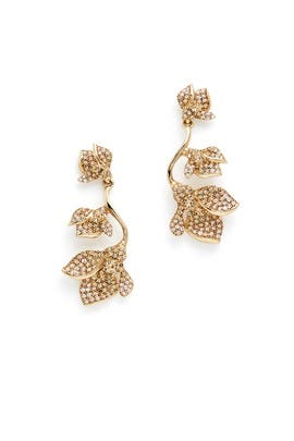 Gold Gradient Crystal Flower Earrings by Oscar de la Renta