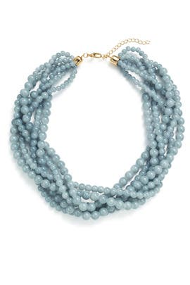 Light Blue Swirl Beaded Necklace by Slate & Willow Accessories