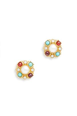 Rainbow Pearl Studs by Ben-Amun