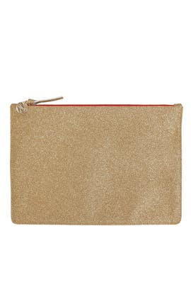 Gold Glitter Margot Clutch by Clare V.