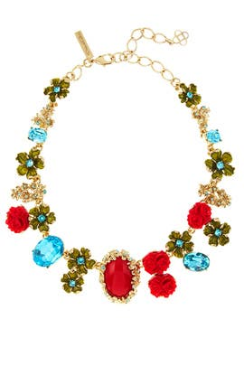Red Resin and Crystal Bouquet Necklace by Oscar de la Renta