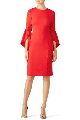 Red Buttoned Flutter Sheath by Prabal Gurung