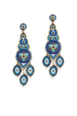 Blue Beaded Drop Earrings by Miguel Ases