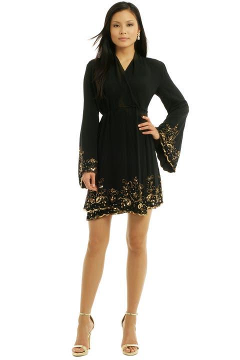 Golden Bell Wrap Dress by Pas Pour Toi