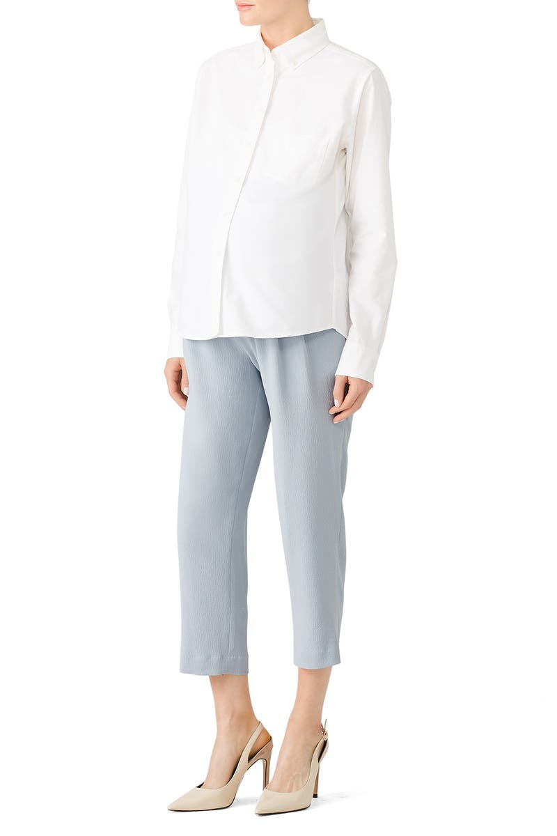 70a4b19f0f7 Blue Pleated Maternity Pants by Slate & Willow for $40 | Rent the Runway