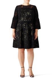 Black Bell Swirl Dress by ML Monique Lhuillier