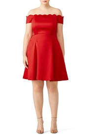 Red Scallop Off Shoulder Dress by Badgley Mischka