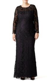 Black Lace Tower Gown by ML Monique Lhuillier