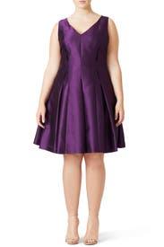 Purple Metallic Dress by Carmen Marc Valvo