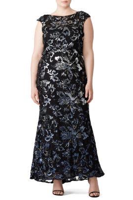 Midnight Swirl Gown by Badgley Mischka