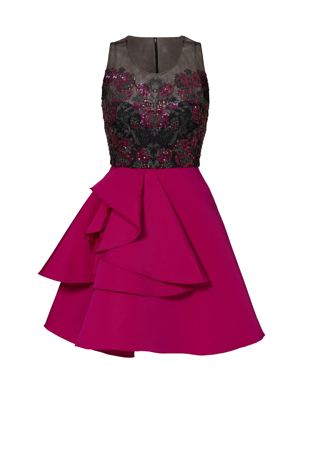 Fuchsia Embroidered Cocktail Dress by Marchesa Notte for $110 - $125 | Rent  the Runway