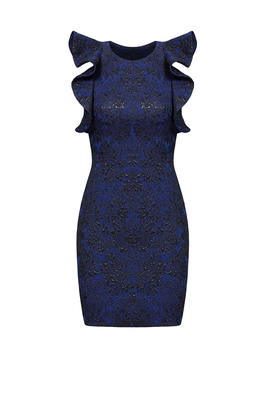 Blue Ruffle Splatter Dress by Parker for $50 - $60 | Rent the Runway